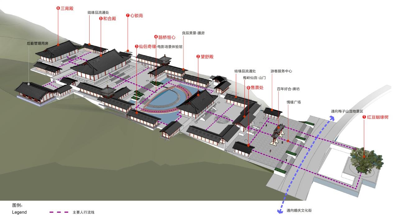 项目规模:1.5平方公里 项目周期:2010年 项目位置:湖北武汉 项目投资:20亿元 委托单位:湖北省武汉市黄鹤楼公园管理处 规划理念: 知音文化在国内乃至世界范围内拥有广泛的影响力和知名度,月湖作为世界知音文化的发源地之一,具有打造知音文化的核心优势。 本规划以知音文化为主线,提出东方知音城的主题定位,充分彰显国内独有的知音文化底蕴,打造融文化艺术体验、绿色旅居空间、城市未来生活、都市时尚创意、环球美食购物于一体的,集旅游、文化、商业、娱乐、休闲、度假、居住等复合功能,华中地区规模最大、设施最先进