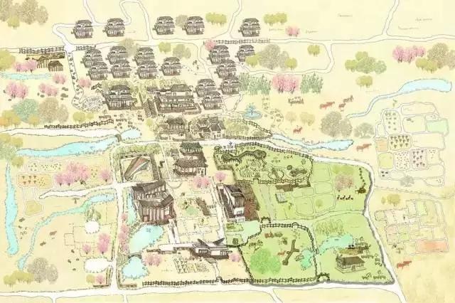 """这张手绘平面图展现的是一个叫""""拾房村""""的江南"""